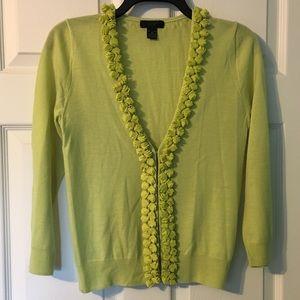 J. Crew Collection Ruffle Cardigan Sweater Small